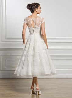 MINE!!! A-Line/Princess Scoop Neck Tea-Length Tulle Lace Wedding Dress With Beading Sequins (002056432)