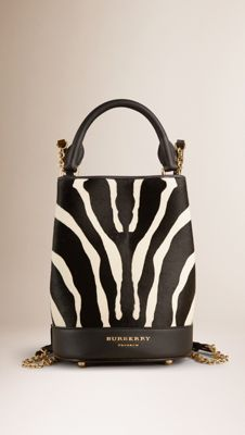 The Small Bucket Backpack in Animal Print Calfskin
