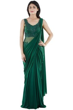Bottle Green Saree Gown With Green Crystals