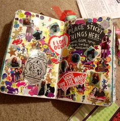 Wreck this journal- place sticky items on this page