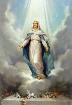 """The Assumption of Mary is a Marian dogma of the Roman Catholic Church that, after his earthly life, Jesus' mother was """"assumed into heaven."""" The term """"assumption"""" comes from the Latin verb assumere, which means """"take"""", Rosary Novena, Holy Rosary, Rosary Church, Blessed Mother Mary, Blessed Virgin Mary, Jesus Mother, Queen Mother, Catholic Art, Religious Art"""