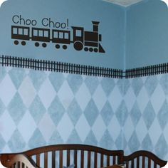 Choo Choo! Train (wall decal from WallWritten.com). Thinkin about doing this for Brody's room!