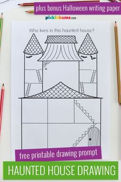 Have fun with this free printable haunted house drawing prompt. You can also extend this fun Halloween activity with the matching free printable writing pages. Fun Halloween Activities, Monster Activities, Creative Activities For Kids, Drawing Activities, Printable Activities For Kids, Halloween Crafts For Kids, Fun Crafts For Kids, Halloween Fun, Preschool Activities