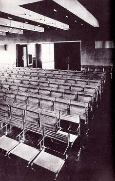 Interior to the Bauhaus Dessau theater facility design by Gropius and outfitted with Breuer chairs (1926)