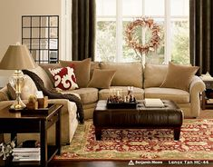 Pottery Barn Living Rooms | This room is great, as it truly shows how to use all neutral pieces ...