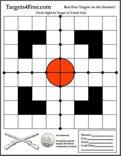 The new target this week is a high-quality circle sight-in shooting target with black visual aids and a crosshair down the center. Easy to see at range! Shooting Targets, Shooting Sports, Shooting Guns, Shooting Range, Shooting Bench, Deer Targets, Pistol Targets, Reloading Ammo, Reloading Supplies