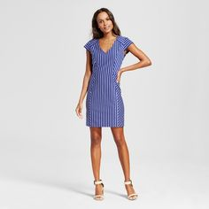 The Women's Striped Ponte Sheath Dress by Merona™ is a figure-flattering delight with an elevated fit and feel. This striped cap-sleeve dress has instant intrigue and a very versatile sense of style.