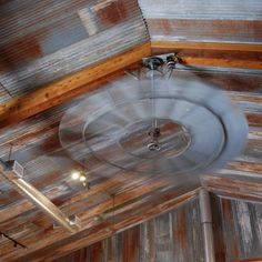 Love - fan for patio! rustic tin ceiling and old windmill ceiling fan. Rustic Tin Ceilings, Windmill Ceiling Fan, Western Decor, Rustic Decor, The Ranch, Kirchen, Home Interior, Interior Design, My Dream Home