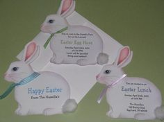 Happy Easter!  Announce the perfect Easter Egg hunt with these cute bunny Easter invitations. The invites are approximately 5x6 and come with a coordinating envelope and self-adhesive envelope seal.  The invitation is hand-cut, original artwork from Sara Jane. Each invitation can be easily personalized to include the type of party, place, time, hosted by, and anything else you would like to see.  If you are looking for a specific quantity please contact us. We will be happy to help.  Please…