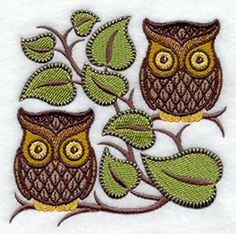 owls embroidery patterns | Machine Embroidery Designs at Embroidery Library! - Retro Owl Square