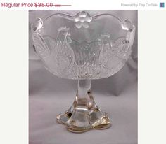 Pedestal Vintage Glass Bowl with Roosters Flowers and by Pastfinds