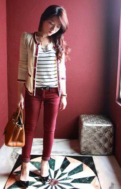 cardigan + burgundy pants