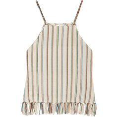 Miguelina Paloma fringed striped cotton-blend top ($55) ❤ liked on Polyvore featuring tops, shirts, tank tops, blusas, cream, multi colored striped shirt, pink tank, colorful striped shirt, pink striped shirt and striped tank