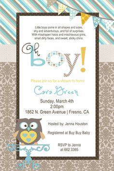 Baby Boy Owl Shower Invitation. $12.50, via Etsy.