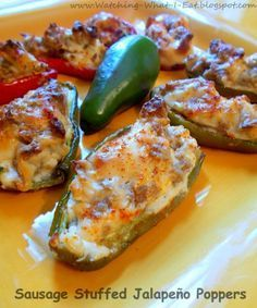 Low-fat baked jalapeno poppers, stuffed with turkey sausage and low/no-fat cream cheese. Perfect for any party!