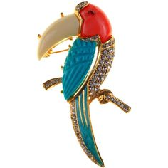 Alice Joseph Vintage 1960s Hattie Carnegie Diamante Toucan Brooch, Multi