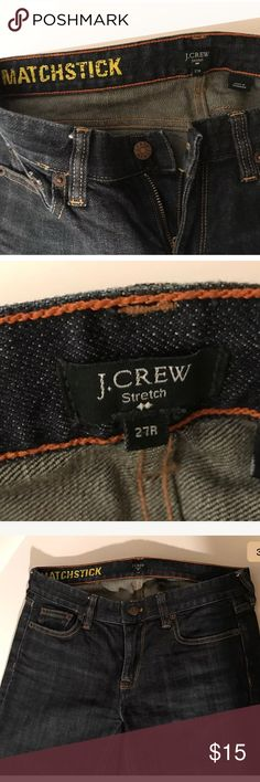 JCREW Matchstick stretch size 27 reg dark jeans JCREW • Matchstick stretch size 27 regular • Worn a few times    • Firmer jean material • No holes, stains, or tears  -Jeans will be steamed and thoroughly clean before shipping J. Crew Jeans Boot Cut