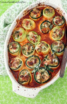 Chicken &  Broccoli Zucchini Roll-ups. (A great alternative to lasagna.)