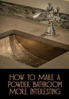 A powder bathroom is a little room that is quite inexpensive to decorate and make a big impact.  Most powder bathrooms have a toilet and either a pedestal sink or a sink on a small cabinet with an unframed mirror above.  Here are a few ways to upgrade your powder bathroom.