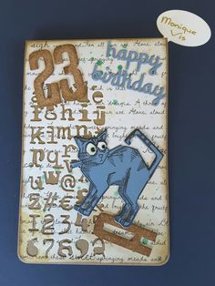 Kaart met Tim Holtz grazy cats en mixed media#3 van Monique