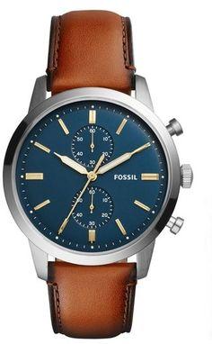 d1237eb5d36 Fossil Men s Townsman Chronograph Leather Strap Watch  amp  Wallet Set