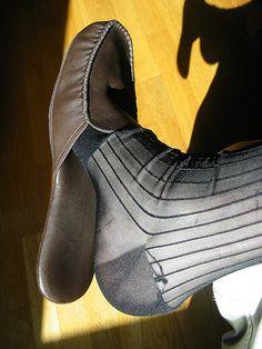 Frette Marcus leather slippers, Gold Toe TNT sheer socks & sock garters Sheer Socks, Leather Slippers, Toe, Floral, Fashion, Socks, Leather Flip Flops, Moda, Fashion Styles