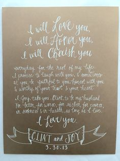 hand written vows. wedding vow artwork . by StyleDahlia on Etsy