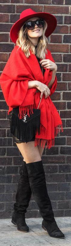 Lene Orvik Red Fringe Cardi fall autumn women fashion outfit clothing style apparel @roressclothes closet ideas