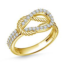 14K Yellow Gold Diamond Love Knot Ring (1/3 cttw.)
