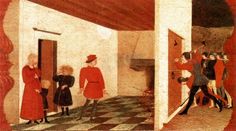 A scene in Paolo Uccello's Corpus Domini predella (c. 1465-1468), set in a Jewish pawnbroker's home. Blood in the background emanates from the Host, which the moneylender has attempted to cook, and seeps under the door. This story first entered the Italian literary tradition via Giovanni Villani