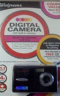 Walgreens 5.1 Megapixel Digital Camera - Black by Walgreen Co. $25.99. 5.1 Megapixel Point and Shoot Camera with built in memory.  Bring your camera to any Walgreens for:  50 4x6 prints or a FREE storage CD containing your photos.  Camera is reusable after photos are downloaded at Walgreens.  Built in Flash, 4x Zoom.