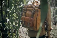 4d736c8d4c41 Image of The Hills  Travel Leather Rucksack Life Is An Adventure