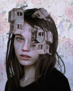 Digital Art: Aykut Aydogdu is a freelance illustrator and artist from Istanbul, Turkey. When you look at ths artist's work, you feel it's handpainted, well you will be surprised to hear that it's Art And Illustration, Portrait Illustration, Illustration Pictures, Portraits Illustrés, L'art Du Portrait, Art Du Collage, Illustrator, Reflection Art, Surreal Artwork