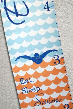 Canvas Growth Chart Custom Swim water diving by SweetDreamMurals, $75.00