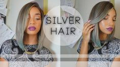 Mixed Girl Hairstyles, 2015 Hairstyles, Summer Hairstyles, Cool Hairstyles, Black Hair With Highlights, Colored Highlights, Lace Closure, Silver Blue Hair, Grey Hair