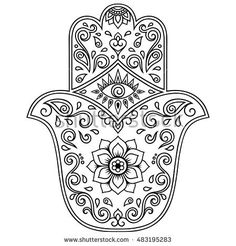 "Hamsa hand drawn symbol with mantra OM. Decorative pattern in oriental style for the interior decoration and henna drawings. The ancient sign of ""Hand of Fatima"". Hamsa Tattoo Design, Hamsa Hand Tattoo, Hamsa Art, Hand Henna, Hamsa Drawing, Henna Drawings, Mandala Art, Colouring Pages, Coloring Books"
