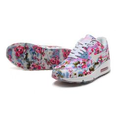 Nike Air Max 90 Rose Print Pink Blue White Women s Shoes UK Online
