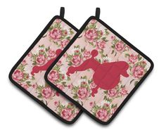 Poodle Shabby Chic Pink Roses Pair of Pot Holders BB1072-RS-PK-PTHD