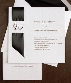 Invites that feature ribbon of different width, textures and colours as the main invite feature