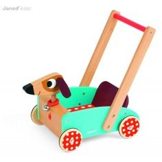 Janod Crazy Doggy Push Toy is a toddler walking toy that helps babies and toddlers learn how to walk. It is made of wood and features an adorable dog cart with a bell collar and a wooden cart that can be filled with toys. Toddler Learning, Toddler Toys, Baby Toys, Children's Toys, Wooden Animals, Wooden Toys, Wood Cart, Push Toys, Toy Craft