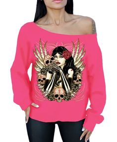 2107439f62d Awkwardstyles Girl Skulls Wings Off the Shoulder Oversized Sweater Sugar  Skull S Black at Amazon Women s Clothing store