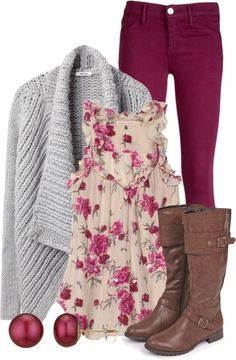 #fall #outfits / Printed Blouse + Grey Cardigan