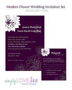 Digital Wedding Invitation Card Set   by SimplyLoveLeeDesigns. Like the bottom flowers