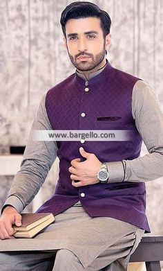 Dark Purple Mens Waistcoat Winnipeg Manitoba Canada Elegant Waistcoat with Shalwar Kameez Blazer For Men Wedding, Wedding Kurta For Men, Wedding Dresses Men Indian, Wedding Dress Men, Waistcoat Men Wedding, Wedding Men, Men's Waistcoat, Kurta Pajama Men, Moda Masculina