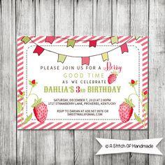 Little Girls Strawberry Invitation  5x7 JPG by CherryBerryDesign, $10.00