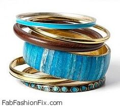 stacked and fabulous is the way to go when you have a drawer full of bangles