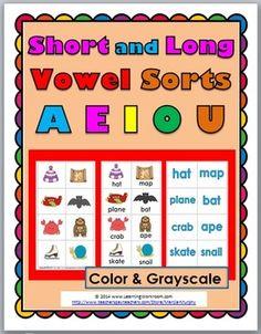 Vowel Sorts -  5 Sorting Activities ~ Short & Long Vowels