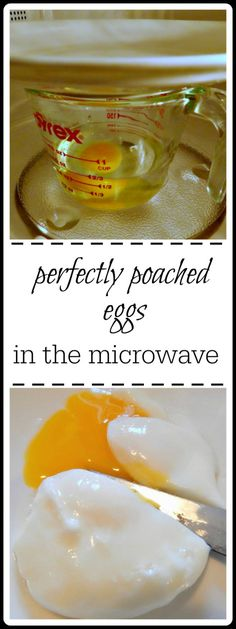 """Perfectly Poached Eggs. Microwaves may vary but this should get you close! You might need to do a """"sacrificial"""" egg."""