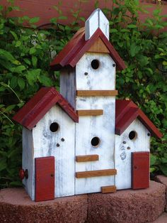 Custom Built Functional Birdhouse Condo Outdoor Garden Decor Post Mount Large…