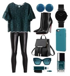 """""""Teal Patent Leather Fabric Studs"""" by lionaleedesigns on Polyvore featuring Christian Louboutin, MAC Cosmetics, CLUSE, Tod's and SwitchEasy"""